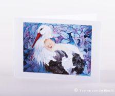 Bijzonder geboortekaartje van ooievaar met kindje