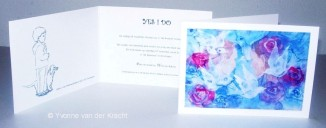 Bijzondere trouwkaart met Rozen en Duiven