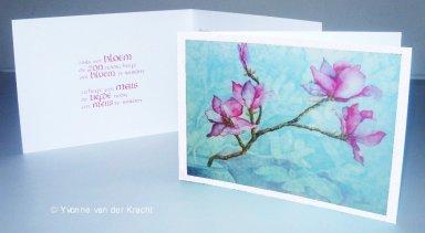 Bijzondere trouwkaartje met magnolia