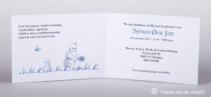 Binnenkant geboortekaartje Sybren kalligrafie