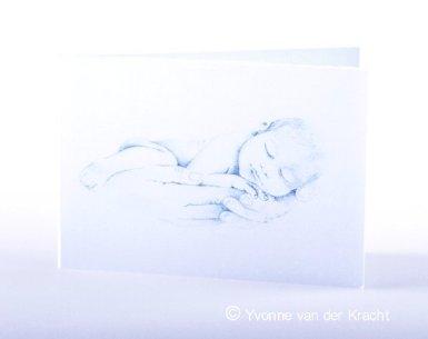 Getekend geboortekaartje baby in zacht potlood