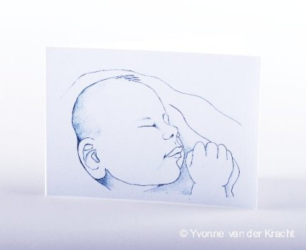 Getekend geboortekaartje baby