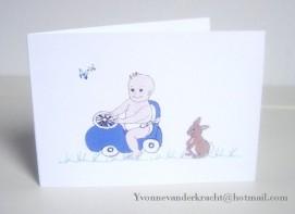 Getekende geboortekaart met speelgoedauto n.a.v. een gedicht.