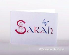 apart geboorte kaartje met kalligrafie