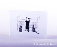Huisdieren bij de wieg getekend zwart wit