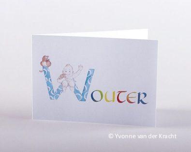 Vrolijk geboortekaartje met handgeschilderde letters.