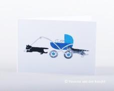 Geboortekaartje poezen bij de kinderwagen getekend