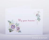 Trouwkaart met aquarel passie bloemen