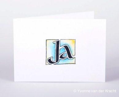 Trouwkaart met kalligrafie, Ja of de initialen