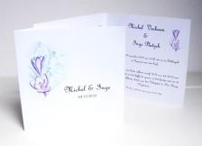 trouwkaart, bloemen, aquarel, kalligrafie