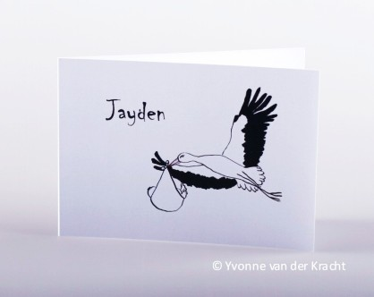 Geboortekaart met vliegende ooievaar inkt tekening.