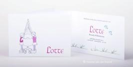 Zusjes getekend op geboortekaartje