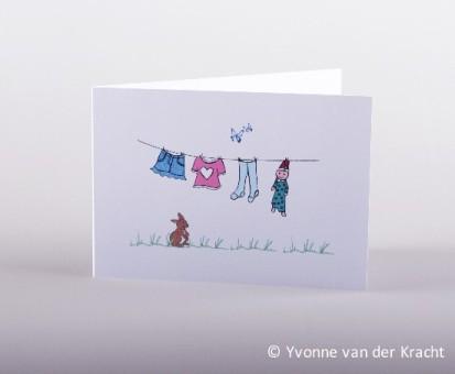 Geboortekaart waslijn met babywasje met konijn