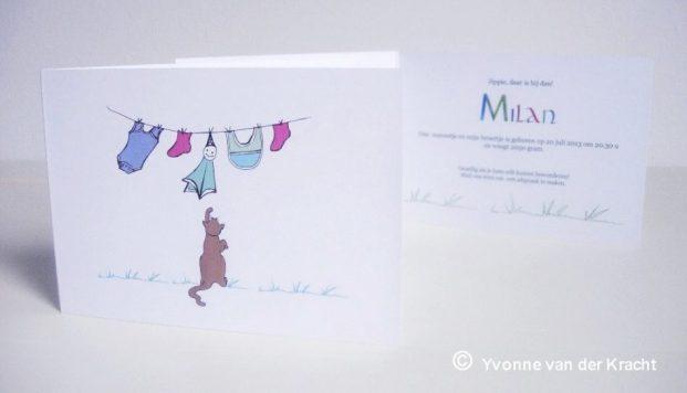 Getekend geboortekaartje met babywasje en kalligrafie letters