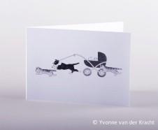 huisdieren bij de kinderwagen getekend zwart wit
