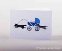 poezen bij de kinderwagen getekend zwart wit