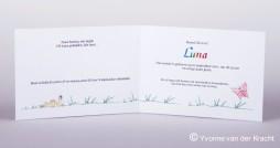 Binnenkant geboortekaartje met kalligrafie