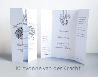Trouwkaart inkt met levensboom